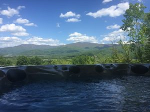 Black Bear Lodge private hot tub in Stanley, VA
